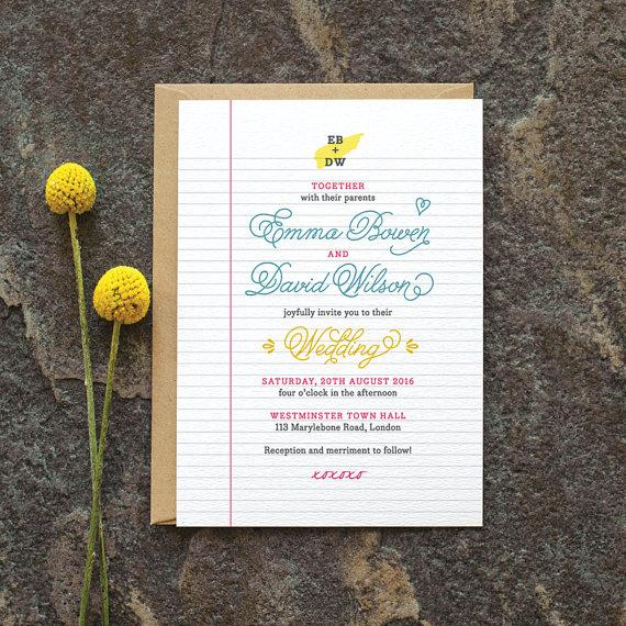 Retro Wedding Invitation School Notebook With Library Card Fun Invite Blue Yellow Pink Custom Colours Available ONE SAMPLE