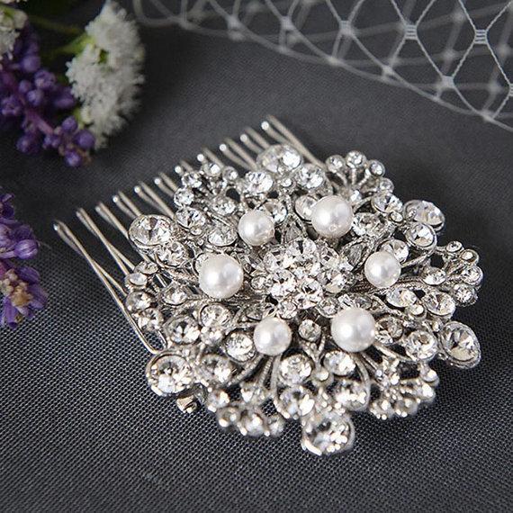 زفاف - CATERINE - Vintage Inspired Wedding Hair Comb, Art Deco SWAROVSKI Crystal Rhinestone and Pearl Bridal Hair Comb, Wedding Hair Accessories