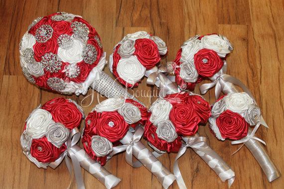 Wedding - Brooch Bouquet Package, DEPOSIT, Red, Silver, & White Brooch Bouquet, Red Bouquet, Marsala