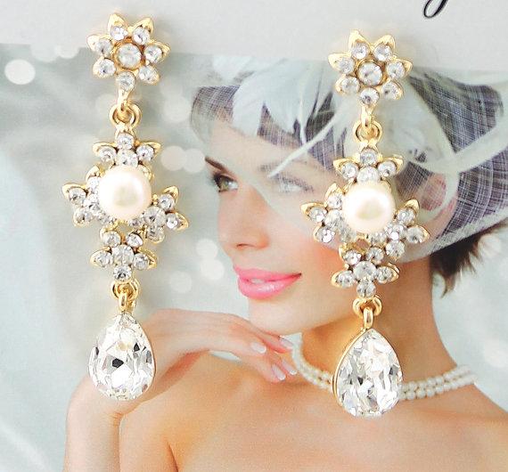 زفاف - Bridal Earrings Wedding Earrings Wedding Jewelry Bridal Jewelry Vintage Inspired Earrings Crystal Pearl Drop Earrings Style-440