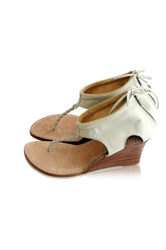 Ivory Leather Shoes Leather Wedges Heels Wedding Shoes Bridal Shoes