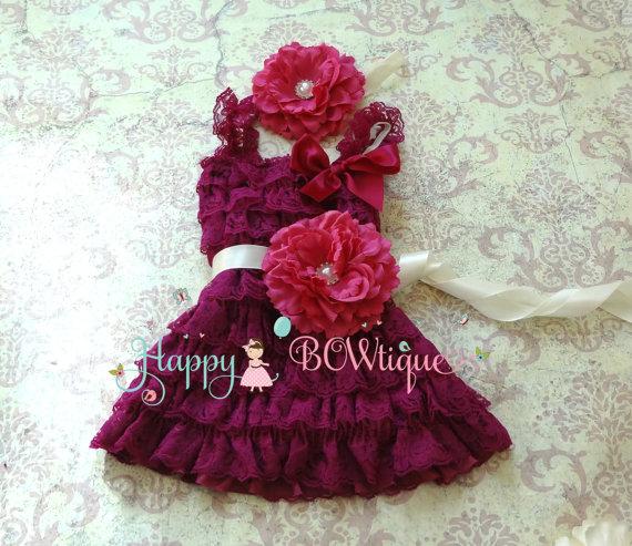 زفاف - Raspberry Plum Flower Dress set, girls dress, Birthday dress,baby girls, flower girl dress, birthday dress, Plum dress, Flower dress,wedding
