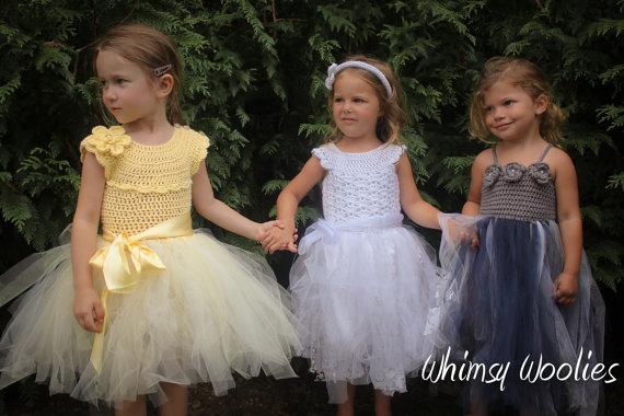 زفاف - Crochet Pattern: 3 Pack - Lisa-Lynn, Mary's, Robin, Crochet Tutu, Flower Girl Dress