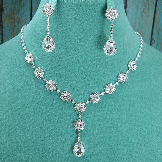 Mariage - Crystal Rhinestone Teardrop Jewelry Set, Crystal Wedding Necklace Set, bridal jewelry set, wedding jewelry set, bridesmaid jewelry set