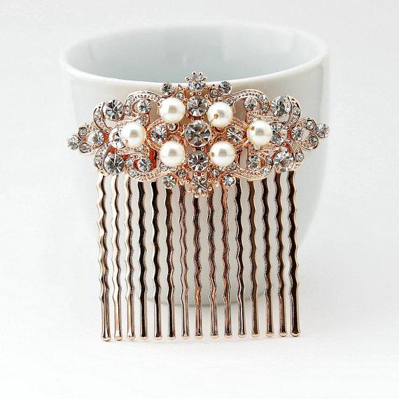 Hochzeit - Rose Gold Hair Comb Wedding Accessories Silver Hair Comb Swarovski Pearl Bridal Headpiece