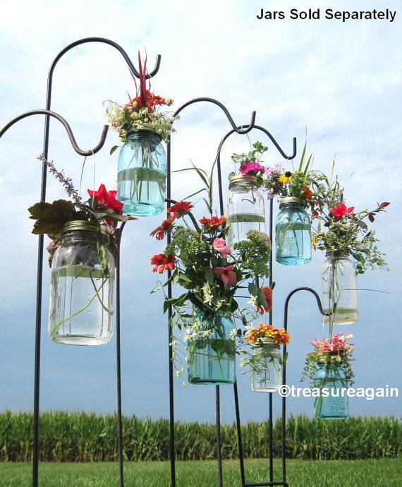 Hochzeit - Wedding Aisle Mason Jar DIY Hanging Flower Vases or Lanterns 8 Gold or Silver Hanging Flower Lids, Wedding, Party, Outdoor Event, No Jars