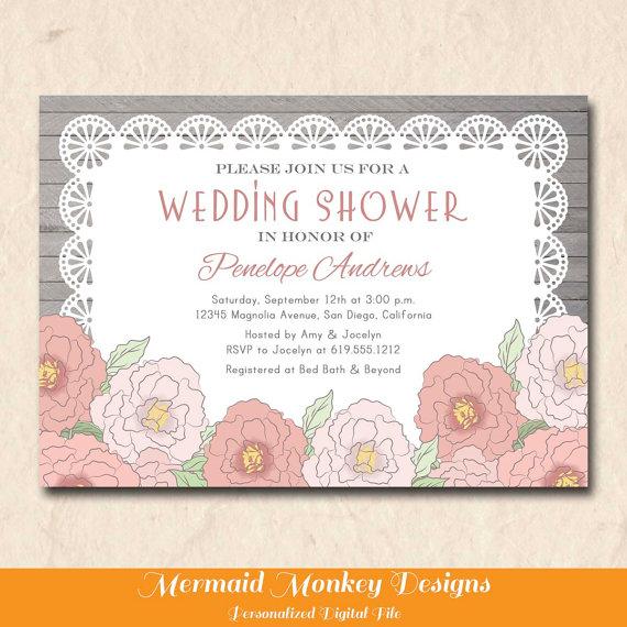 Wedding - Rustic Bridal Shower Invitation, Wedding Shower Invitation, Vintage Bridal Shower, Pink Flowers, Lace Invitation - Penelope