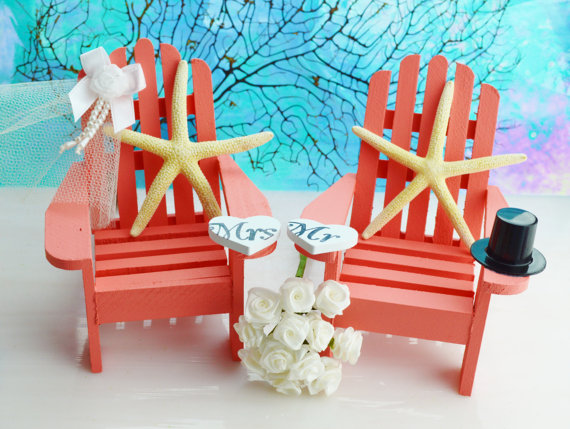 Wedding Cake Topper ~ Miniature Adirondack Chairs ~ Starfish Bride / Groom  ~ Beach Wedding Decor ~ Cake Topper
