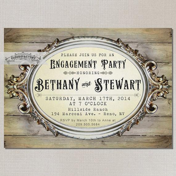 rustic wood engagement party invitations digital printable file or, Party invitations