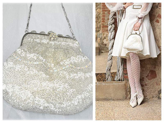 French Fler Bag Wedding Purse White Beaded Handbag Clutch Art Deco Evening Vanity Vintage Bridal