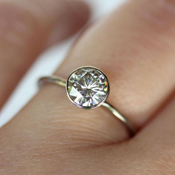 Wedding - 6mm Moissanite 14K White Gold Engagement Ring, Stacking Ring - Made To Order