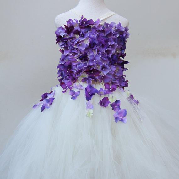 زفاف - Ivory Lavender Flower Girl Dress - Ivory wedding -flower bodice dress - ivory flower girl - flower girl dress - pageant dress