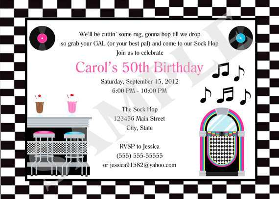 Printable 50s Diner Birthday Party Event Invitation
