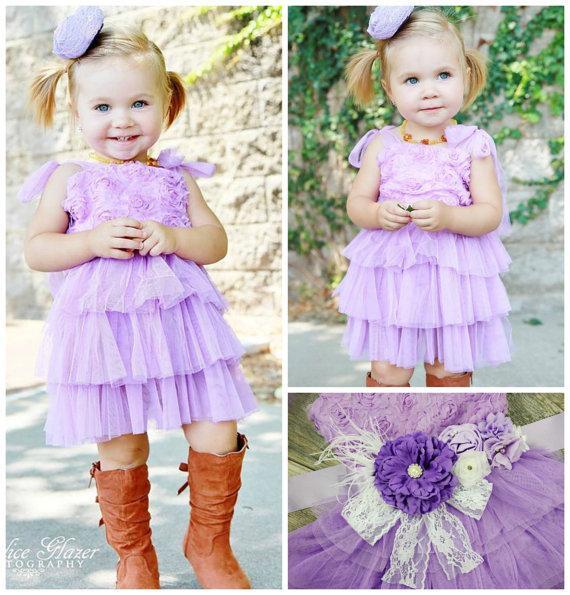 Свадьба - Lavender Chiffon Dress // Toddler FLOWER GIRL DRESSES // Wedding Dress // Little Girls Dresses // Lots Of Colors