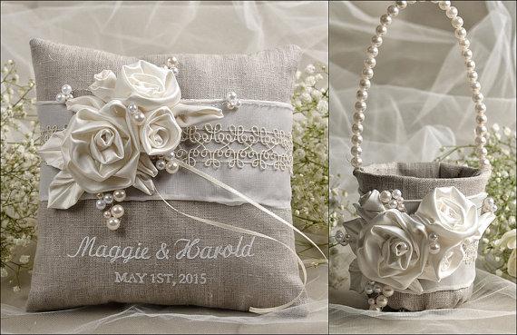 زفاف - Flower Girl Basket & Ring Bearer Pillow Set, Shabby Chic Natural Linen, Embriodery Names, Flowers and Pearls