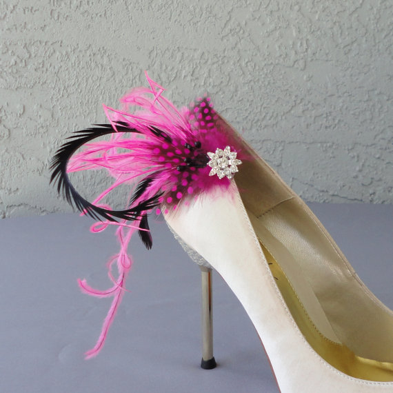 Wedding - Wedding Bridal Party Peacock  Pink Dyed Guinea And Ostrich Feather Shoe Clips Set Of Two 8 Center Rhinestones To Choose From