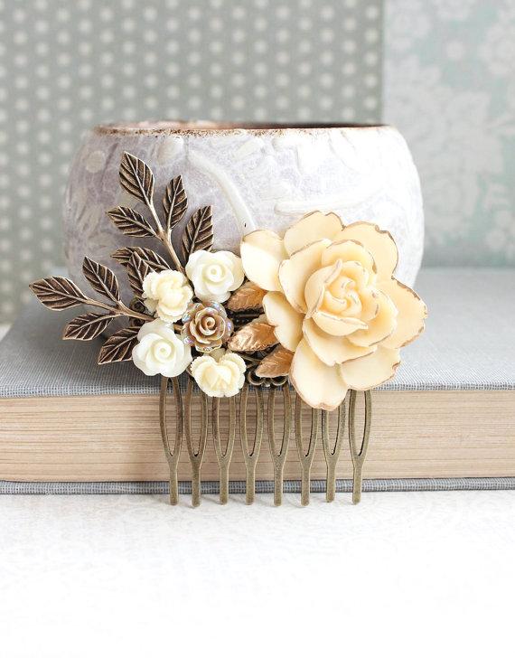 Свадьба - Ivory Cream Rose Bridal Hair Comb Flower Hair Jewelry Garden Wedding Hair Accessory Bridesmaid Gift Romantic Gold and Cream Floral Collage