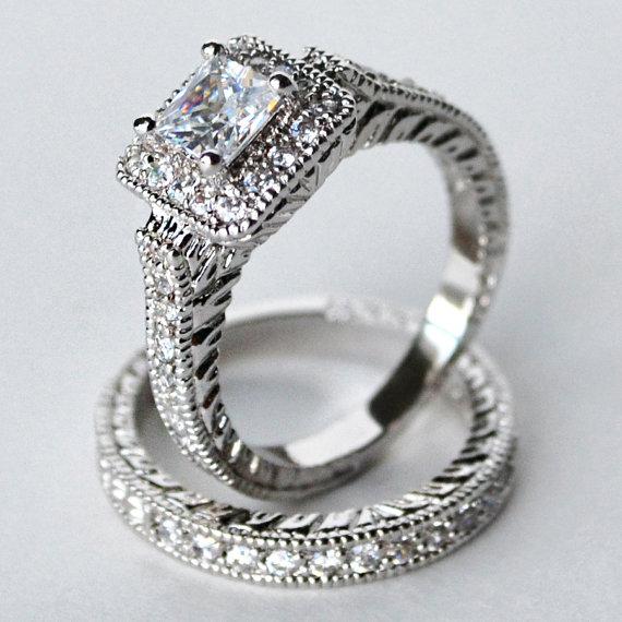 Cz Ring Wedding Engagement Set Halo Cubic Zirconia Size 5 6 7 8 9 10
