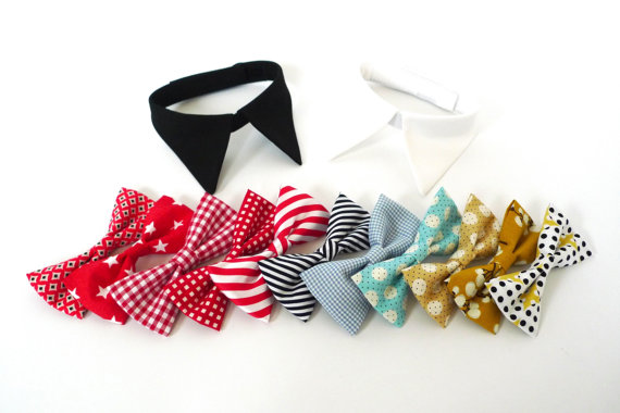 Свадьба - Make your own shirt collar with bow tie or necktie, White shirt or Black shirt for ring bearer girl dog and cat, Pet Wedding Accessory