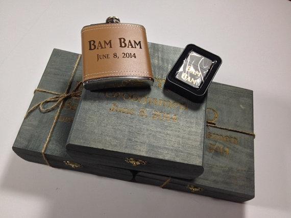 Wedding - Groomsmen Gift Set of 5 - Keepsake Box - Flask -Refillabe Matte Black Lighter - ECO Friendly NO Smell Stain - Faux Grass Lining -