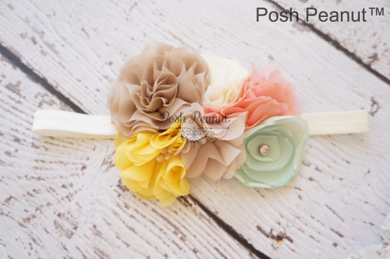 Wedding - country style flower headband, mint shabby headband, baby headband, girls headband, coral headband, girls headband, rustic wedding headband