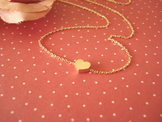 Hochzeit - Valentine's Day...Tiny gold heart necklace...simple handmade jewelry, everyday simple, bridal jewelry, wedding, flower girl, bridesmaid gift