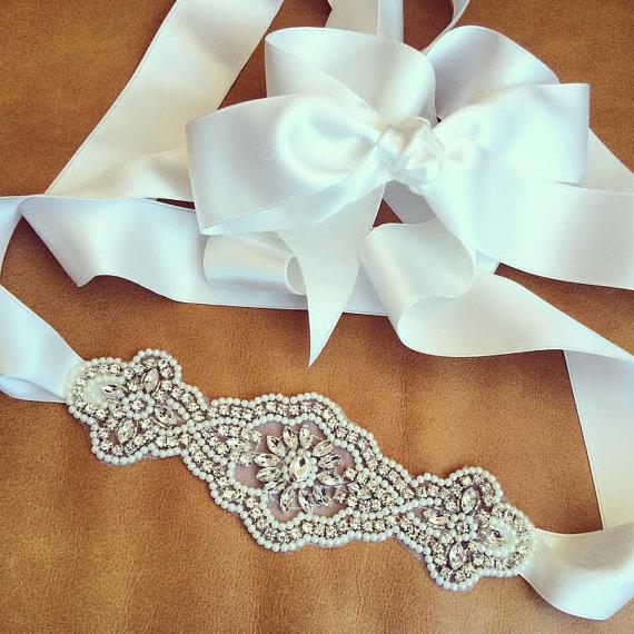 Свадьба - Rhinestone Pearl Wedding Sash - S12