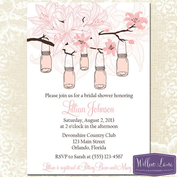pink mason jar bridal shower invitation hanging mason jars bridal shower invite lilies wedding shower lilies bridal 1234 printable