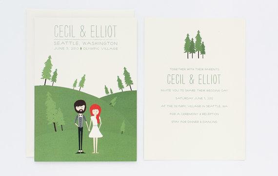 Mariage - Rustic Wedding Invitation Illustration - Custom Illustrated Invite - Cecil & Elliot