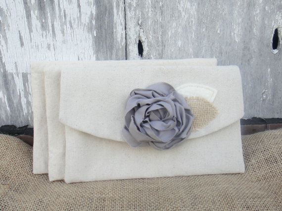 زفاف - 3 Grey Bridesmaid Clutches Rustic Wedding Purses Burlap Wedding Bridesmaid Purses Barn Wedding Bridesmaid Gift