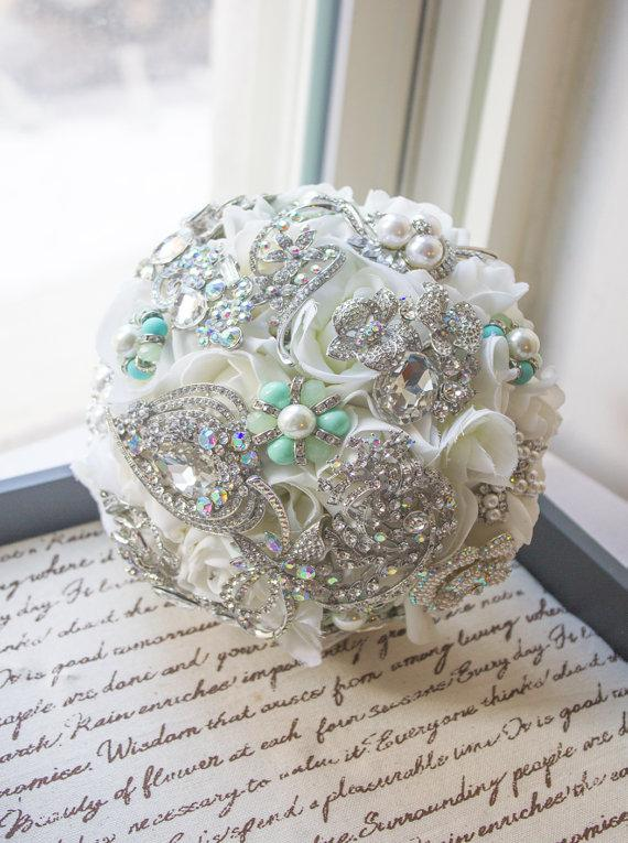 Wedding - Jeweled Mint Brooch Bridal Bouquet, Mint Wedding Bouquet, Bridal Bouquet, Jewelry Bouquet, Brooch Bouquet, Bridesmaid Bouquet, Mint WBQ4-MT