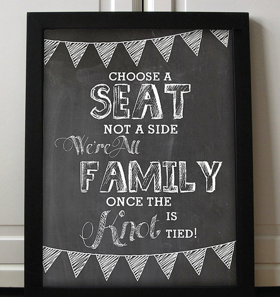 Choose A Seat Not A Side Wedding Printable