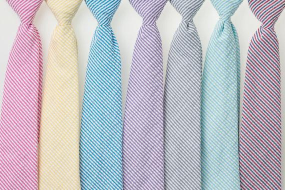 Wedding - Boys Neckties - Striped Seersucker II - Fuschia, Yellow, Teal, Purple, Gray, Mint/Aqua, Navy/Red