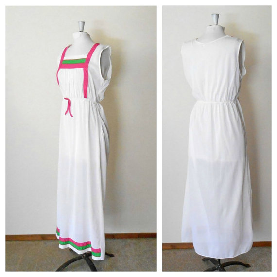 Свадьба - 70s Nylon Nightgown - Sleeveless - Womens Nightgowns - White Nightgown Lingerie - Summer Nightgown - Long Nightgown - Maxi - Full Length