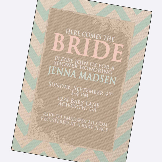 Vintage Bridal Shower Invitations Bride Letters Country Wedding