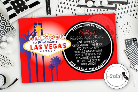 Las Vegas Bachelorette Party Invitation Las Vegas Birthday Party – Las Vegas Party Invitations