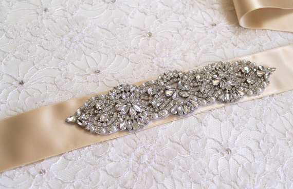 Bridal Beaded Austrian Crystal Pearl Luxury Sash Vintage Style Rhinestone Embellished Wedding Belt Ss S