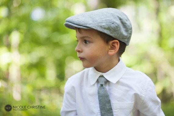 Gray Linen Newsboy Hat And Necktie Set 519e896377a