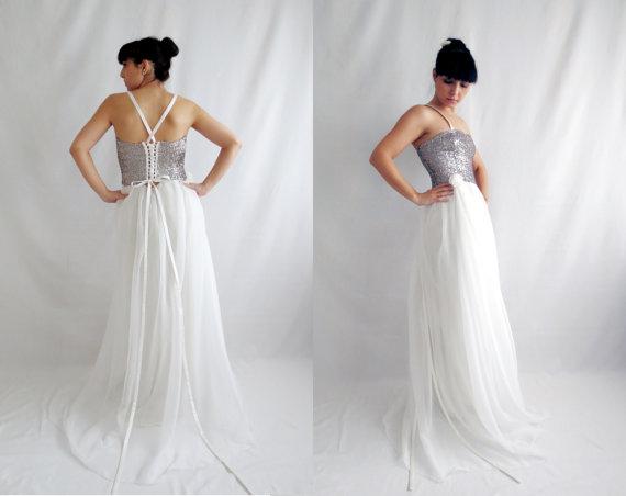 Hochzeit - Fairy wedding dress, sequins wedding dress, silk wedding dress, alternative wedding dress, boho wedding dress, white wedding dress,