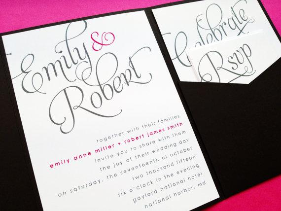 Hochzeit - Scripted Pocketfold Wedding Invitation - Wedding Invitations - Pocketfold Invite - Wedding Invite