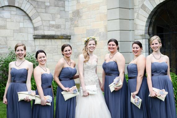 Hochzeit - Personalized Bridesmaid Gift Idea, Bridesmaid Clutch, Wedding Party Clutch
