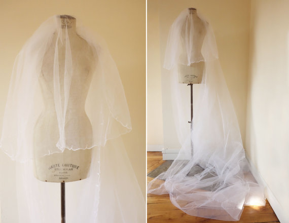 Hochzeit - Vintage cathedral veil • Tulle wedding extra long veil • cubesandsquirrels