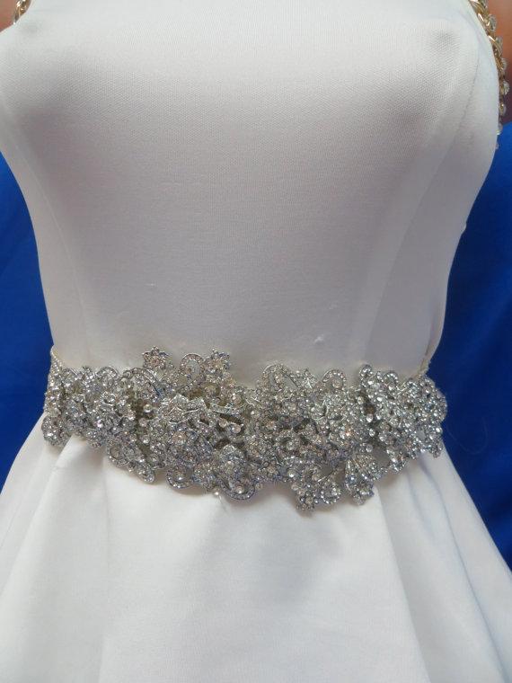 Hochzeit - Rhinestone  Sash, Wedding Belt, Crystal   Belt,  Gown Accessory, Deco Gown, Bridal Accessory