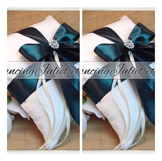 زفاف - Romantic Satin Elite Ring Bearer Pillow...You Choose the Colors...SET OF 2...shown in ivory/hunter green