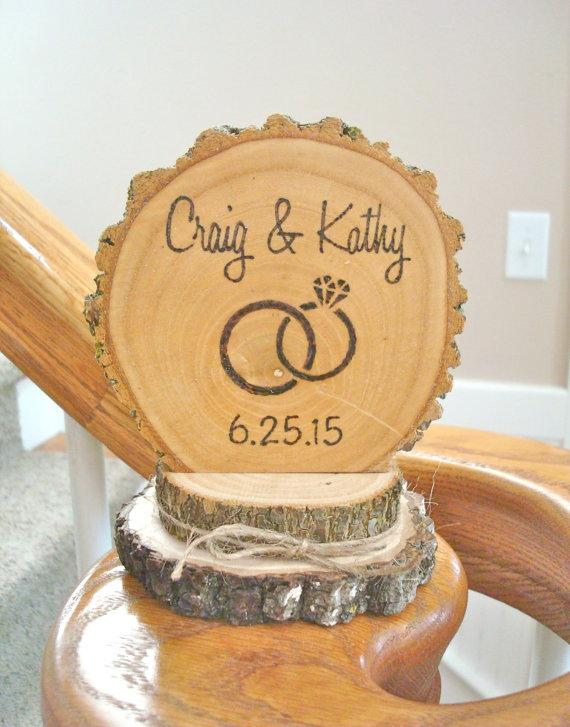 Rustic Wedding Cake Topper Wood Ring Personalized Retro Country Custom