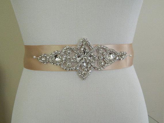 Hochzeit - Wedding Sash/Belt,Bridal Sash,Rhinestone Sash,Beaded Sash,- Shannon-Champagne Wedding Sash