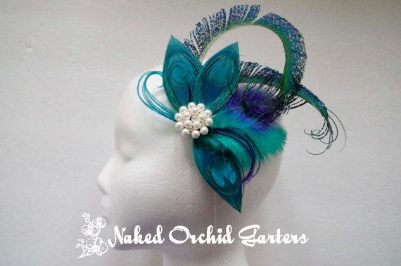 Hochzeit - Peacock Wedding Hair Clip, Teal Peacock Fascinator, Purple Bridal Hairpiece with Birdcage, Flapper Feather Headpiece, Peacock Wedding Veil