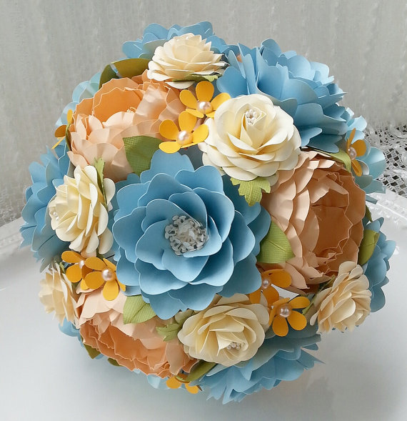 Hochzeit - Paper Bouquet - Paper Flower Bouquet - Wedding Bouquet - Shades of Blue and Peach with a Splash of Orange - Custom Made - Any Color