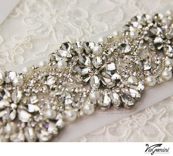 Hochzeit - Bridal sash , Bridal belt , Wedding sash sash - satin ribbon with crystal and rhinestone beaded applique sash, custom color