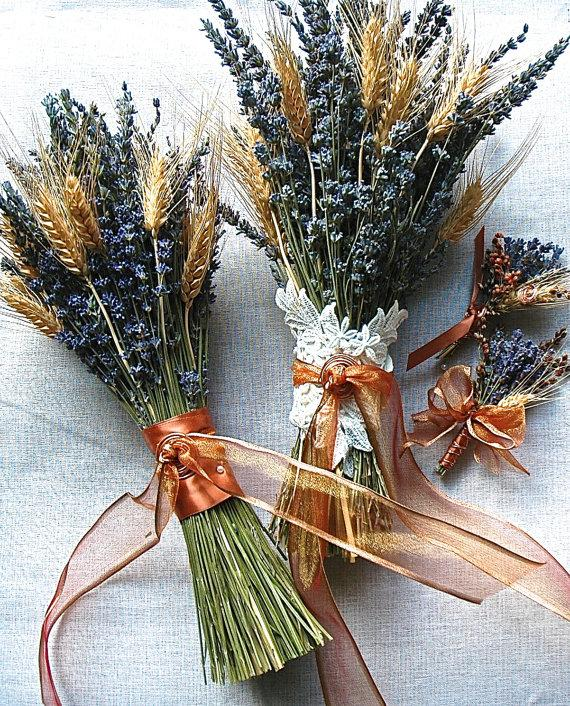 Hochzeit - Wedding Party Bouquets, Boutonniere and Corsage of Lavender and Wheat wrapped in Copper